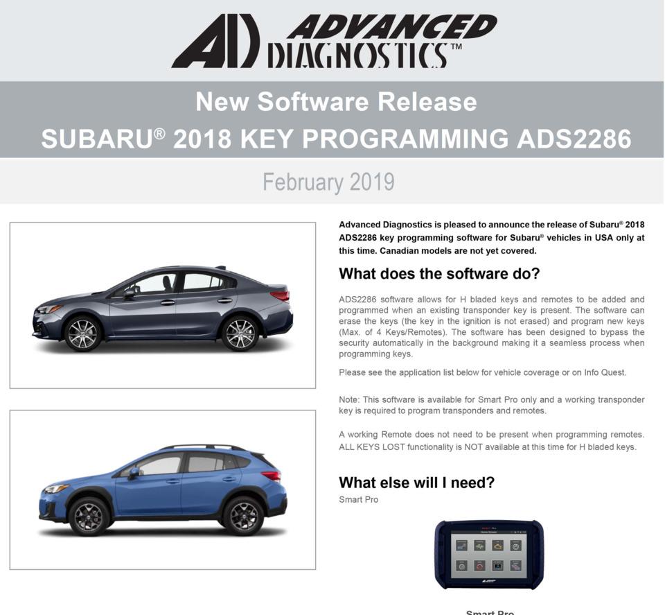 Advanced Diagnostics USA Announces new ADS 2285 Subaru Software