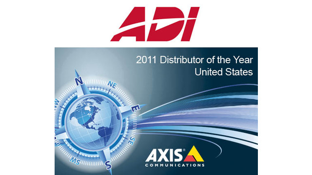 ADI Named 2011 US Distributor of the Year By Axis Communications